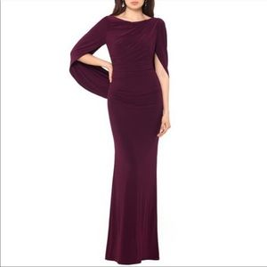 BETSY & ADAM Drape Sleeves Trumpet Evening Gown 14